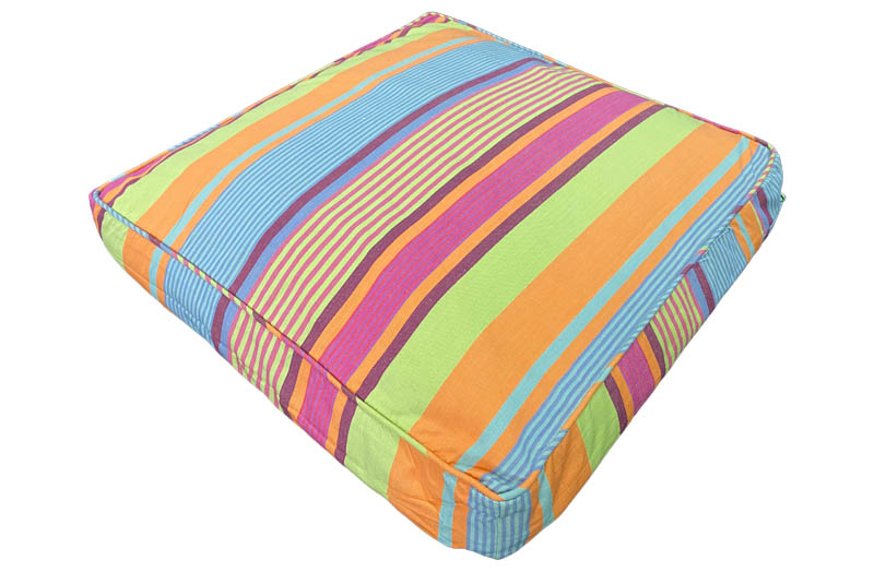 Blue Grey, Green, Orange and Pink Striped Large Floor Cushions