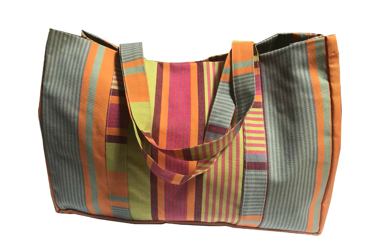 Large Grey Stripe Beach Bags