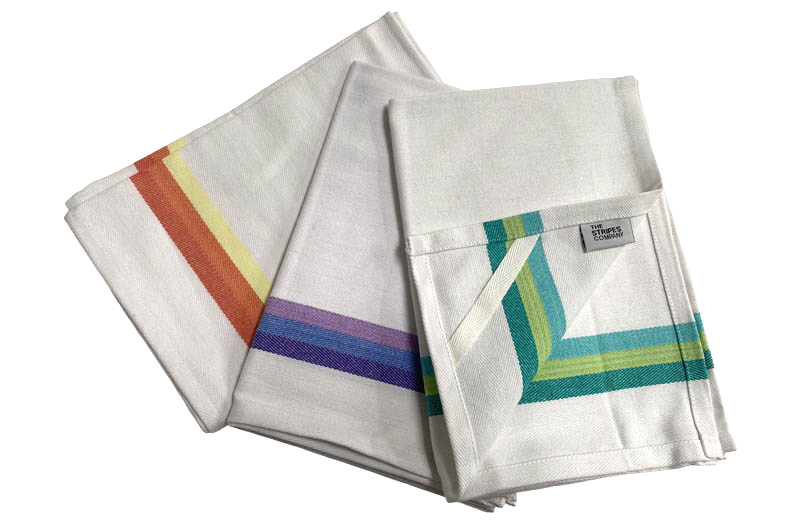 White with Rainbow Stripe Tea Towels Set of 3