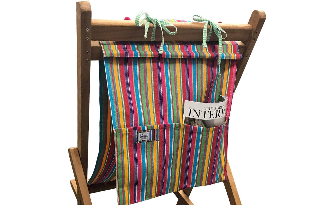 pink, green, yellow - Teak Deckchair with Headrest and Pockets
