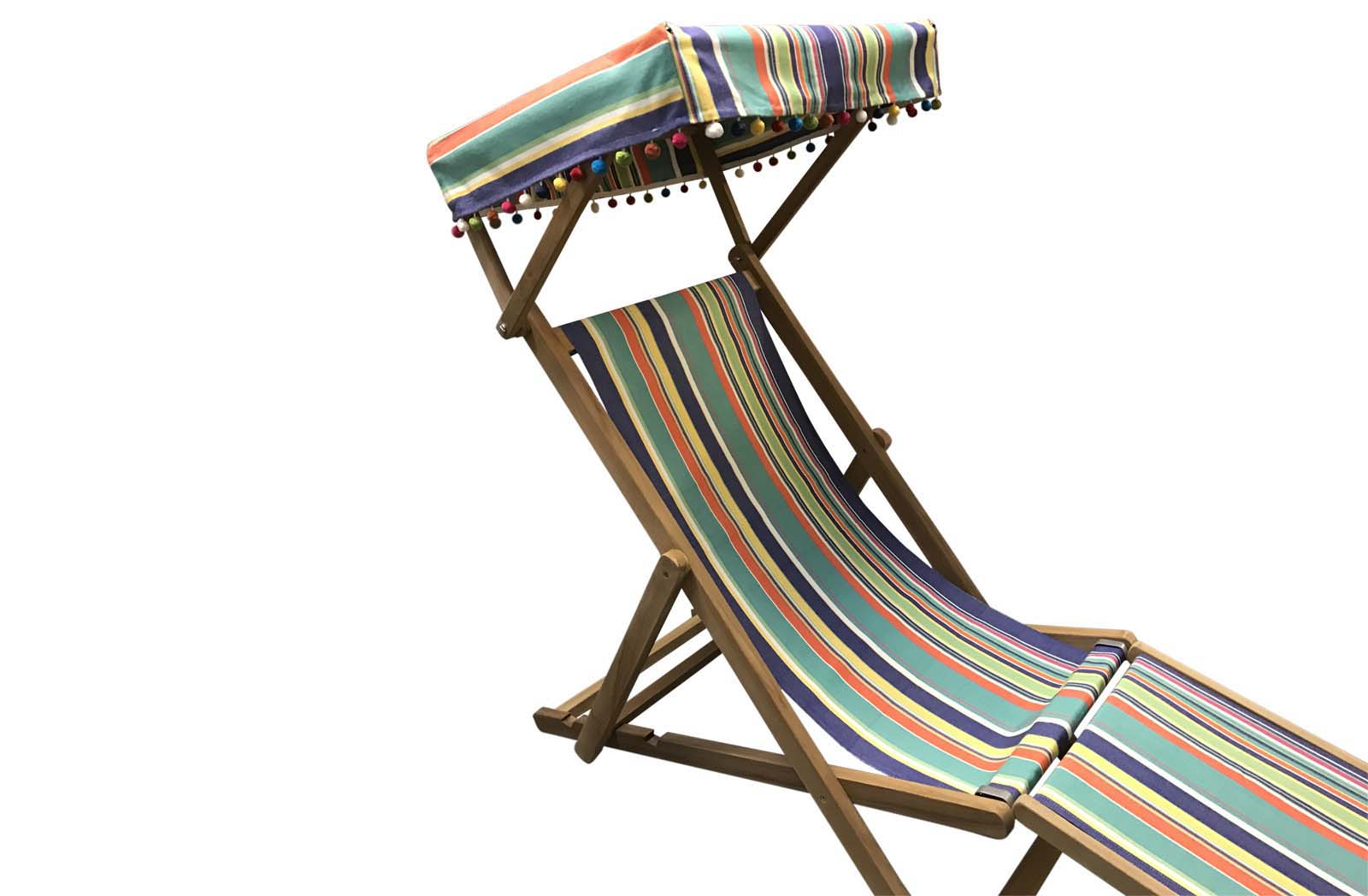 Yachting Edwardian Deckchairs with Canopy and Footstool