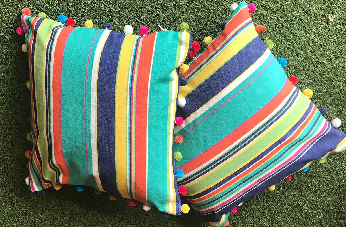 Turquoise, Pale Green and Royal Blue Stripe Pompom Cushion 40x40cm