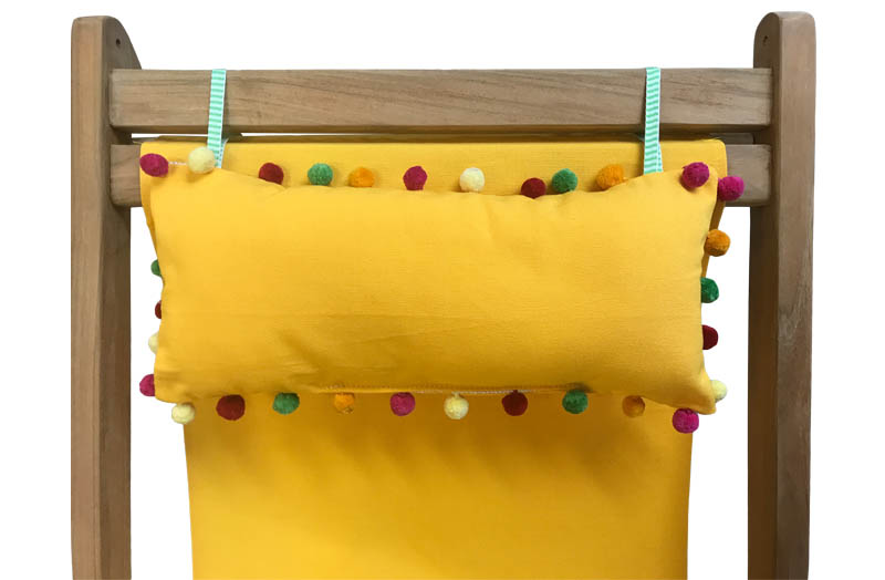Yellow Deckchair Headrest Cushions | Yellow Tie on Pompom Headrest Pillow