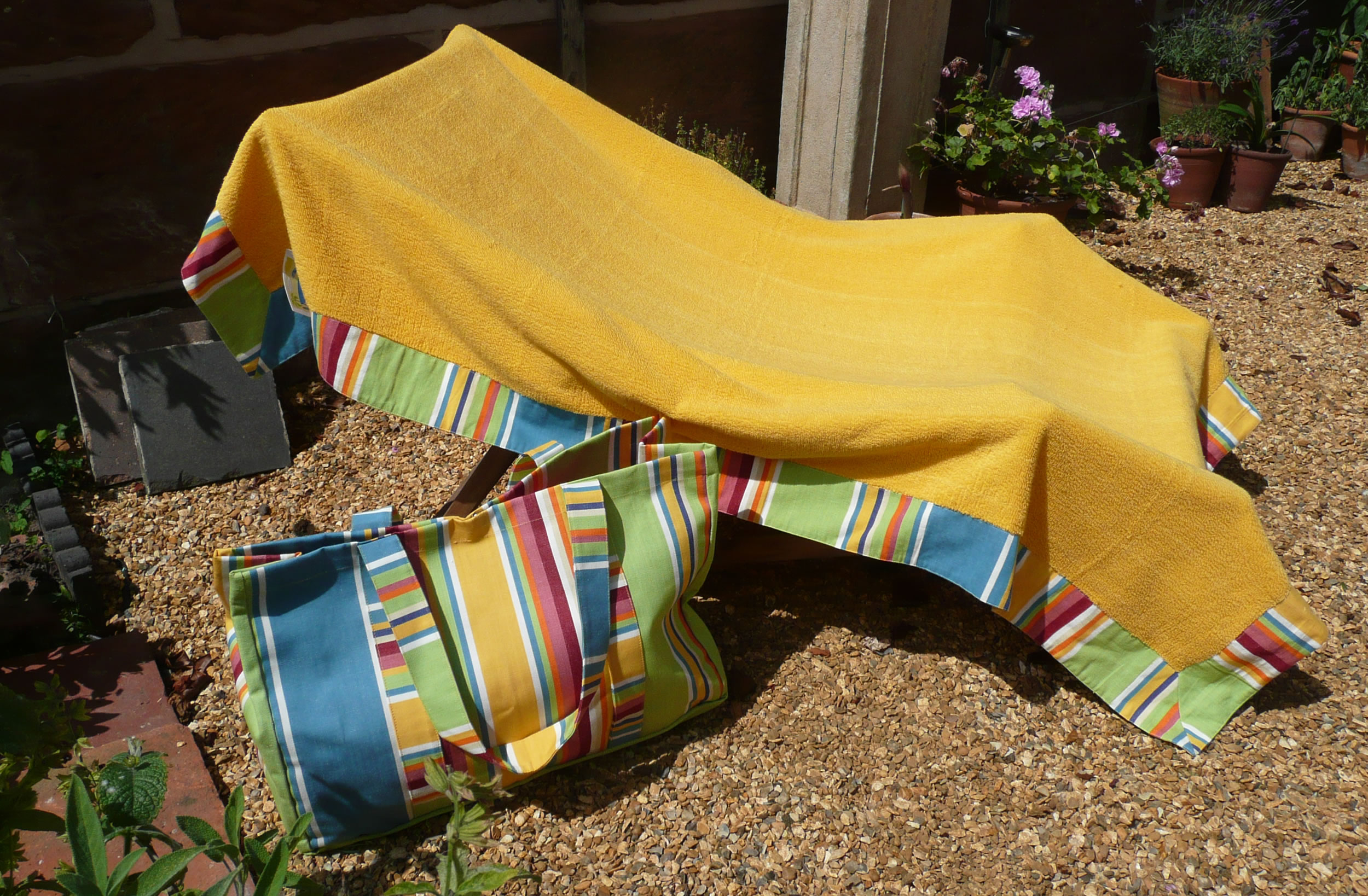 yellow extra large beach towels with striped border - Large Beach Towels