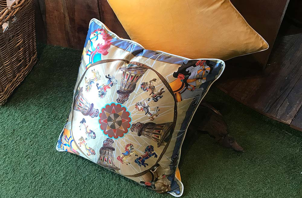 Large Silk and Velvet Cushion with Vintage Helter Skelter Fairground Design