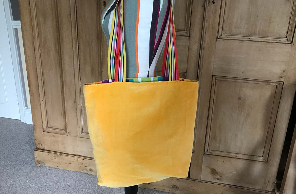 Yellow Velvet Reversible Tote Bag