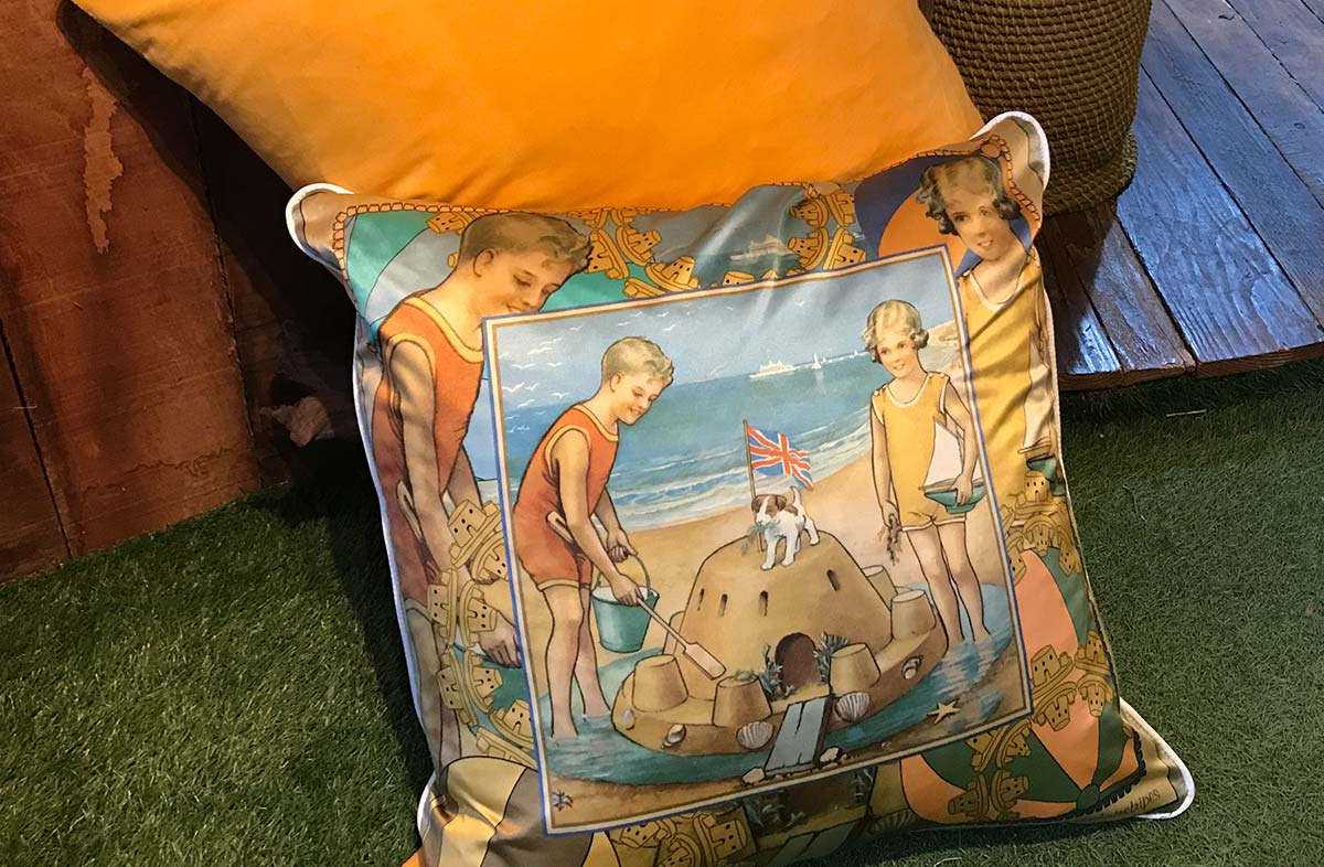 Large Silk and Velvet Cushion with Vintage Sandcastle Beach Scene Design