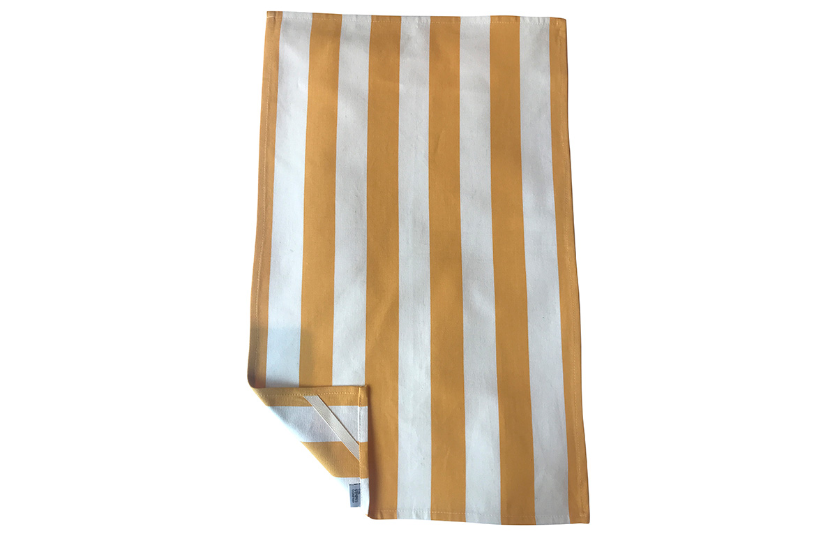 Yellow and White Stripe Tea Towels | Striped Teatowels yellow, white