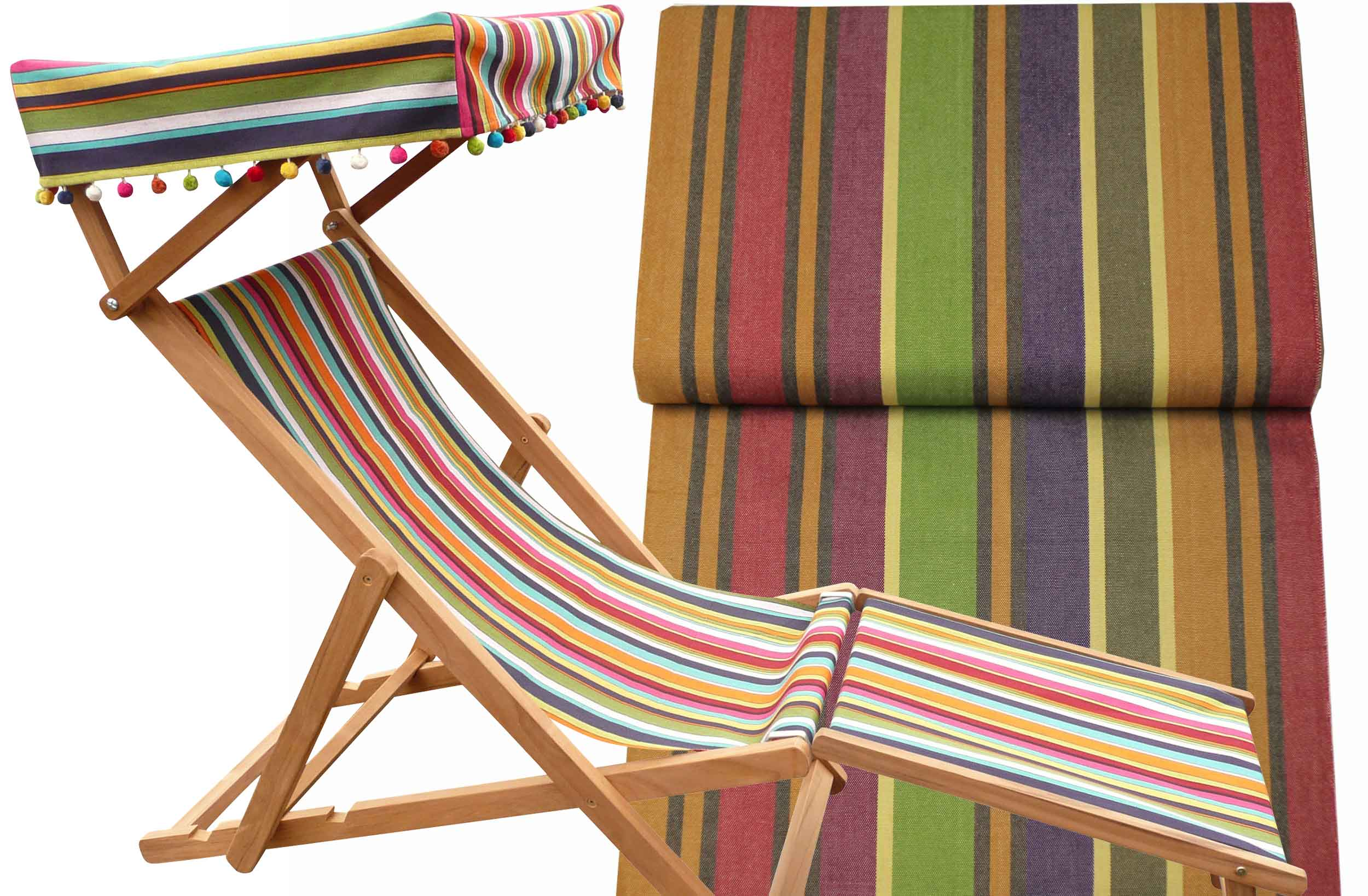 Edwardian Deckchairs with Canopy and Footstool caramel, beige, purple